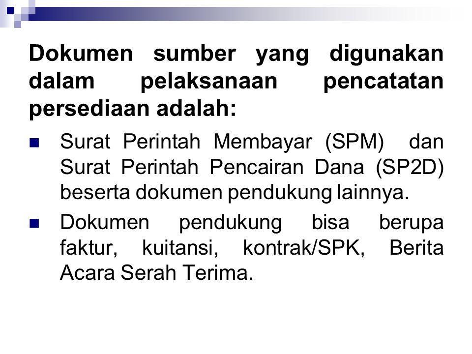 Dokumen sumber yang digunakan dalam pelaksanaan pencatatan persediaan adalah:  Surat Perintah Membayar (SPM) dan Surat Perintah Pencairan Dana (SP2D) beserta dokumen pendukung lainnya.