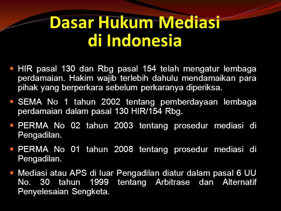 Dasar Hukum Mediasi di Indonesia  HIR pasal 130 dan Rbg pasal 154 telah mengatur lembaga perdamaian. Hakim wajib terlebih dahulu mendamaikan para pih