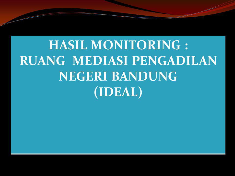 HASIL MONITORING : RUANG MEDIASI PENGADILAN NEGERI BANDUNG (IDEAL)