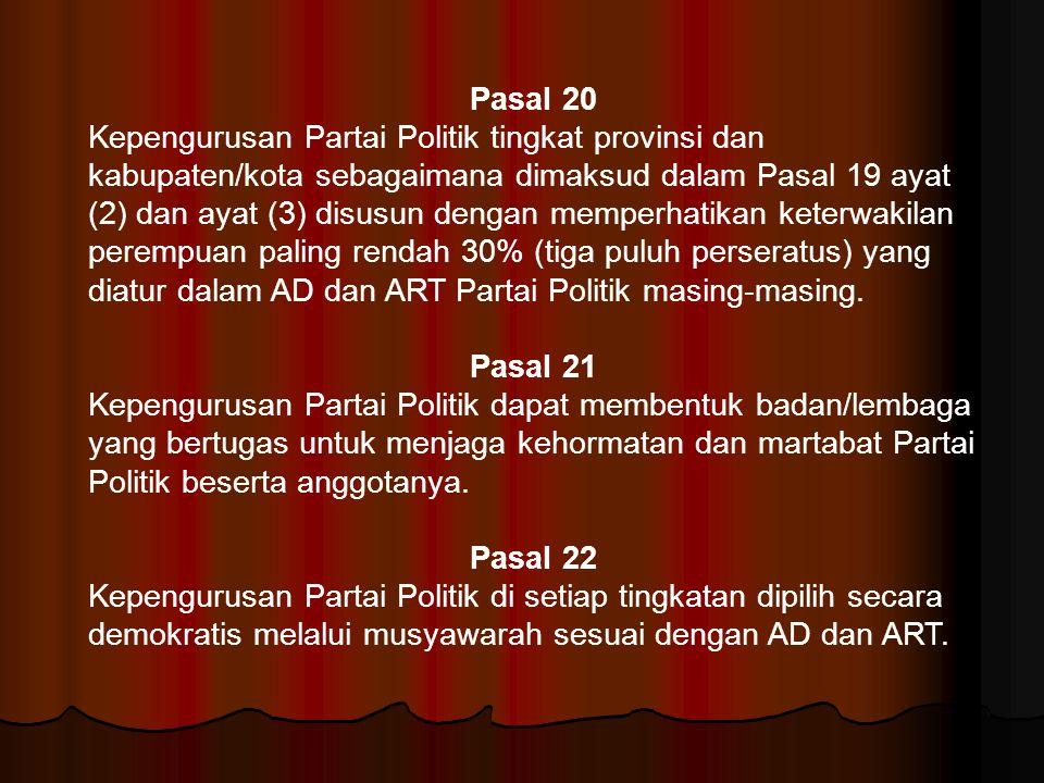 Pasal 20 Kepengurusan Partai Politik tingkat provinsi dan kabupaten/kota sebagaimana dimaksud dalam Pasal 19 ayat (2) dan ayat (3) disusun dengan memp