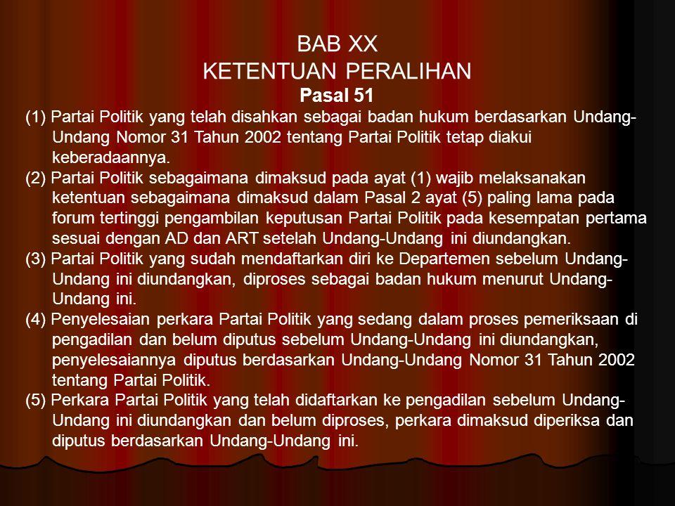 BAB XX KETENTUAN PERALIHAN Pasal 51 (1) Partai Politik yang telah disahkan sebagai badan hukum berdasarkan Undang- Undang Nomor 31 Tahun 2002 tentang