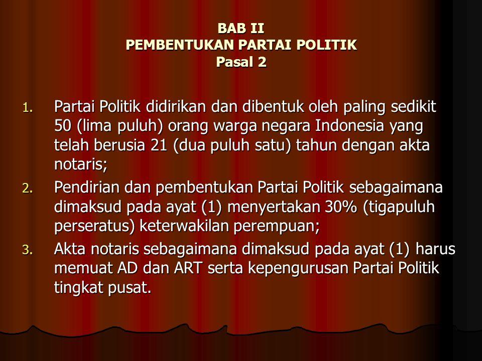 BAB II PEMBENTUKAN PARTAI POLITIK Pasal 2 1. Partai Politik didirikan dan dibentuk oleh paling sedikit 50 (lima puluh) orang warga negara Indonesia ya