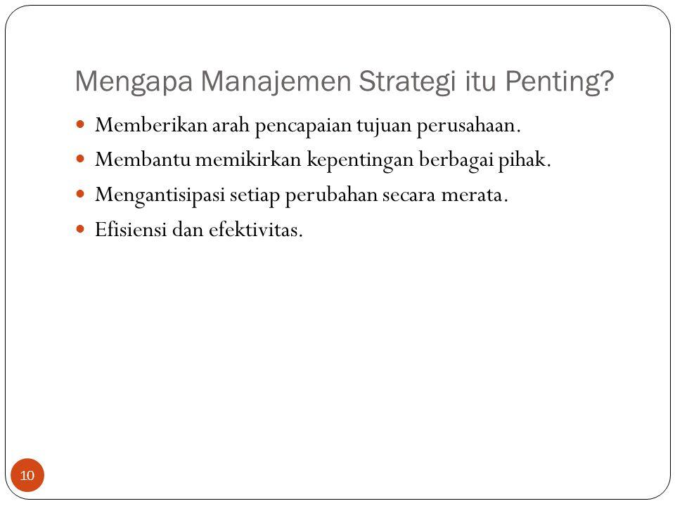 Mengapa Manajemen Strategi itu Penting.10  Memberikan arah pencapaian tujuan perusahaan.
