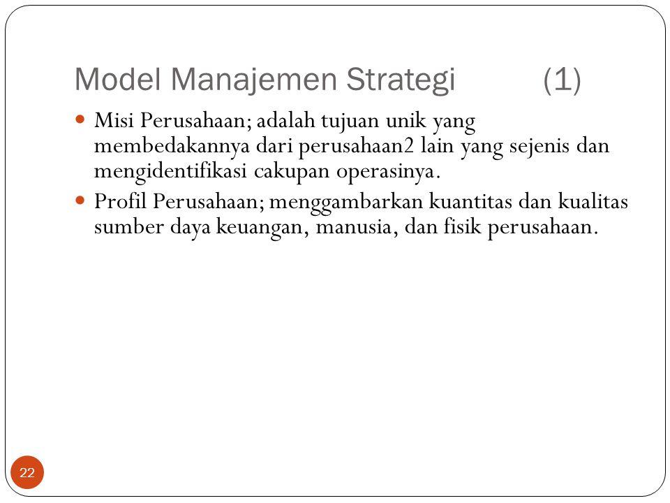 Model Manajemen Strategi(1) 22  Misi Perusahaan; adalah tujuan unik yang membedakannya dari perusahaan2 lain yang sejenis dan mengidentifikasi cakupan operasinya.