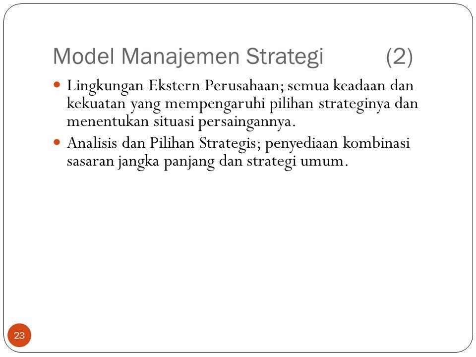 Model Manajemen Strategi(2) 23  Lingkungan Ekstern Perusahaan; semua keadaan dan kekuatan yang mempengaruhi pilihan strateginya dan menentukan situasi persaingannya.