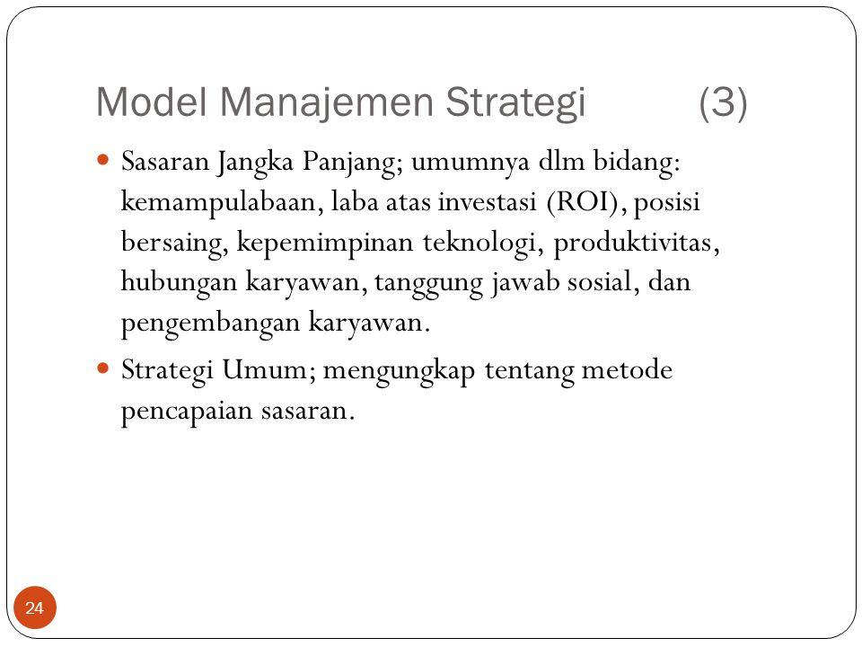 Model Manajemen Strategi(3) 24  Sasaran Jangka Panjang; umumnya dlm bidang: kemampulabaan, laba atas investasi (ROI), posisi bersaing, kepemimpinan teknologi, produktivitas, hubungan karyawan, tanggung jawab sosial, dan pengembangan karyawan.