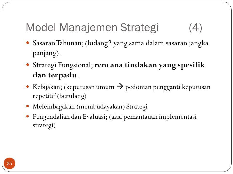 Model Manajemen Strategi(4) 25  Sasaran Tahunan; (bidang2 yang sama dalam sasaran jangka panjang).