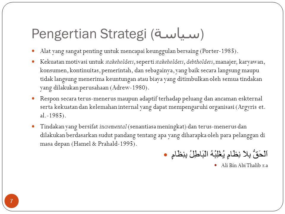 Pengertian Strategi ( سياسة ) 7  Alat yang sangat penting untuk mencapai keunggulan bersaing (Porter-1985).