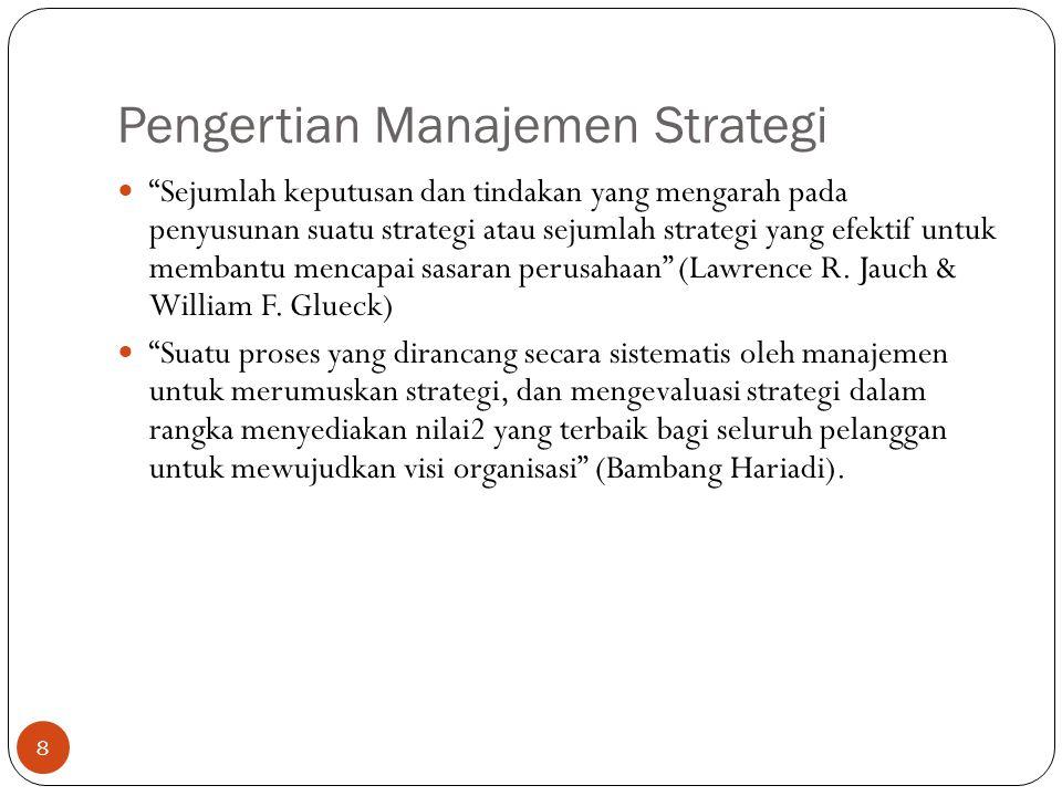 Pengertian Manajemen Strategi 8  Sejumlah keputusan dan tindakan yang mengarah pada penyusunan suatu strategi atau sejumlah strategi yang efektif untuk membantu mencapai sasaran perusahaan (Lawrence R.