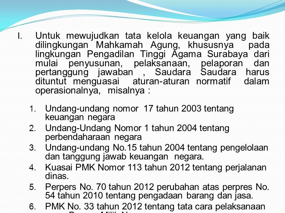 I. Untuk mewujudkan tata kelola keuangan yang baik dilingkungan Mahkamah Agung, khususnya pada lingkungan Pengadilan Tinggi Agama Surabaya dari mulai
