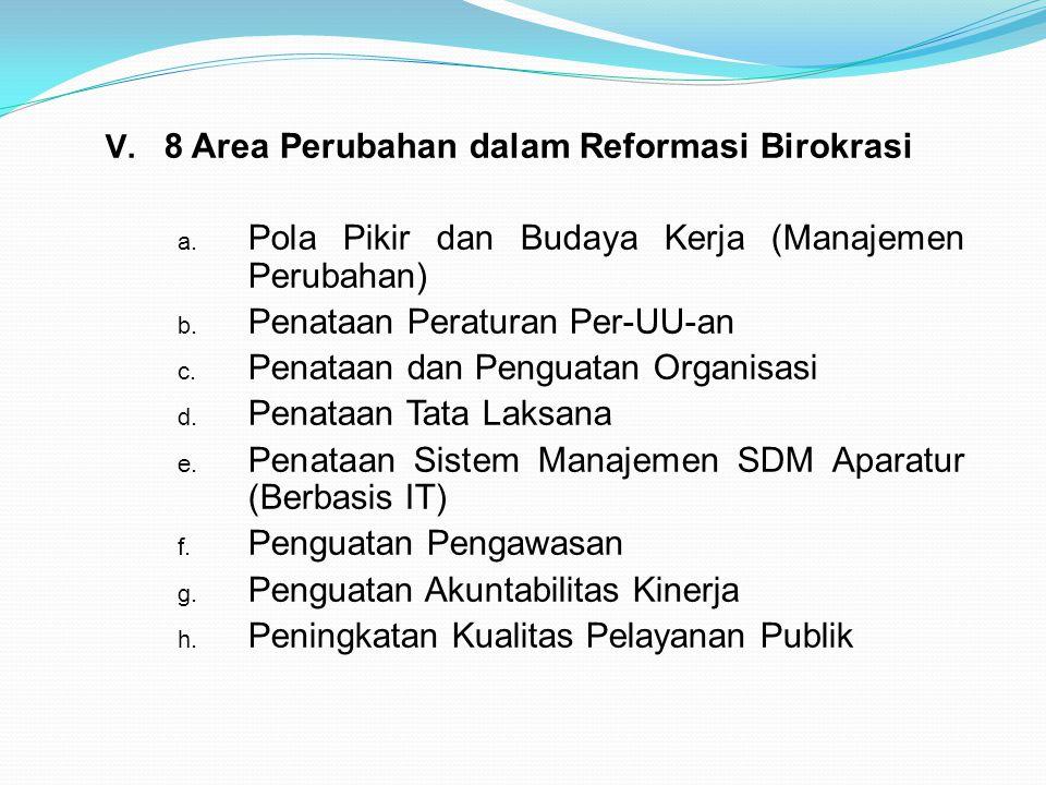  8 Area Perubahan dalam Reformasi Birokrasi a. Pola Pikir dan Budaya Kerja (Manajemen Perubahan) b. Penataan Peraturan Per-UU-an c. Penataan dan Pen