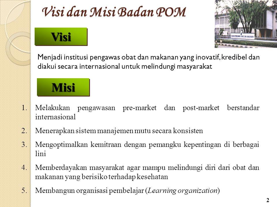 Visi dan Misi Badan POM Visi dan Misi Badan POM Menjadi institusi pengawas obat dan makanan yang inovatif, kredibel dan diakui secara internasional un
