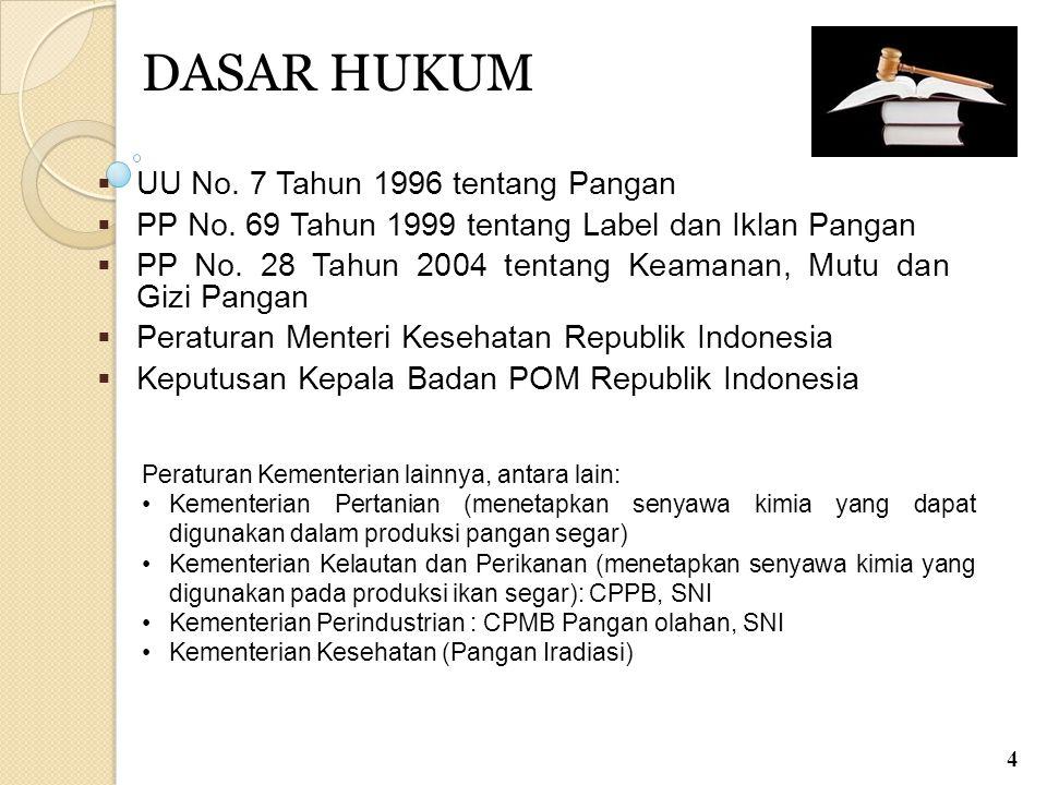 DASAR HUKUM  UU No. 7 Tahun 1996 tentang Pangan  PP No. 69 Tahun 1999 tentang Label dan Iklan Pangan  PP No. 28 Tahun 2004 tentang Keamanan, Mutu d