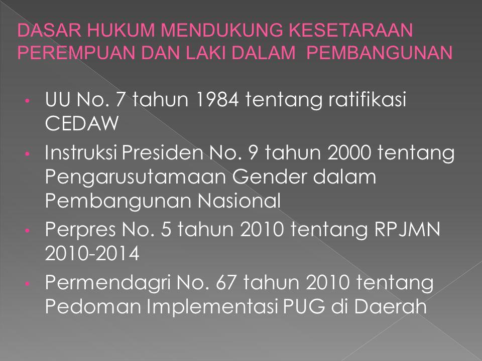 PENGARUSUTAMAAN GENDER (PUG) merupakan strategi untuk mengurangi kesenjangan gender dan mencapai kesetaraan gender dengan cara menggunakan perspektif gender dalam proses pembangunan PUG adalah proses untuk menjamin perempuan dan laki- laki mempunyai AKSES, PARTISIPASI dan KONTROL terhadap sumber daya, memperoleh MANFAAT pembangunan dan pengambilan keputusan yang sama di semua tahapan proses pembangunan dan seluruh proyek, program dan kebijakan pemerintah (INPRES 9/2000 TENTANG PUG DALAM PEMBANGUNAN NASIONAL)
