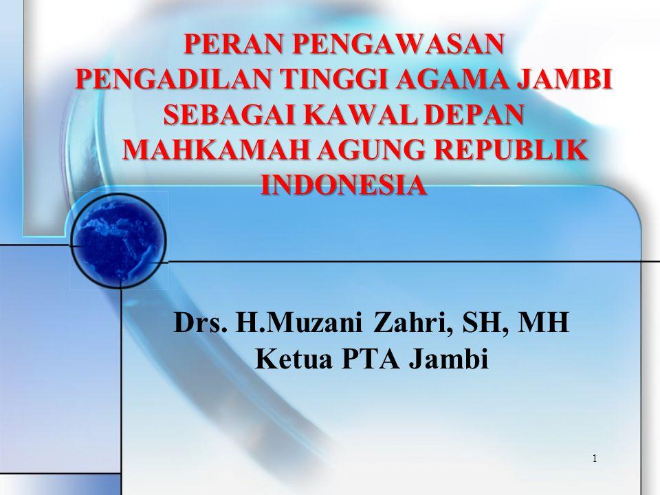 1 Drs. H.Muzani Zahri, SH, MH Ketua PTA Jambi PERAN PENGAWASAN PENGADILAN TINGGI AGAMA JAMBI SEBAGAI KAWAL DEPAN MAHKAMAH AGUNG REPUBLIK INDONESIA MAH