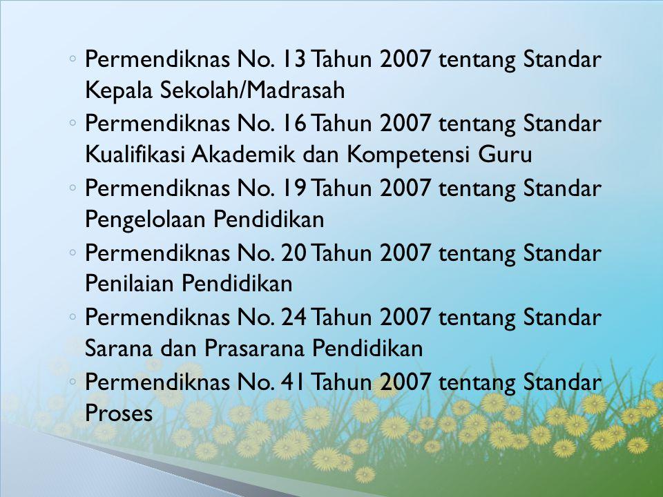 ◦ Permendiknas No. 13 Tahun 2007 tentang Standar Kepala Sekolah/Madrasah ◦ Permendiknas No. 16 Tahun 2007 tentang Standar Kualifikasi Akademik dan Kom