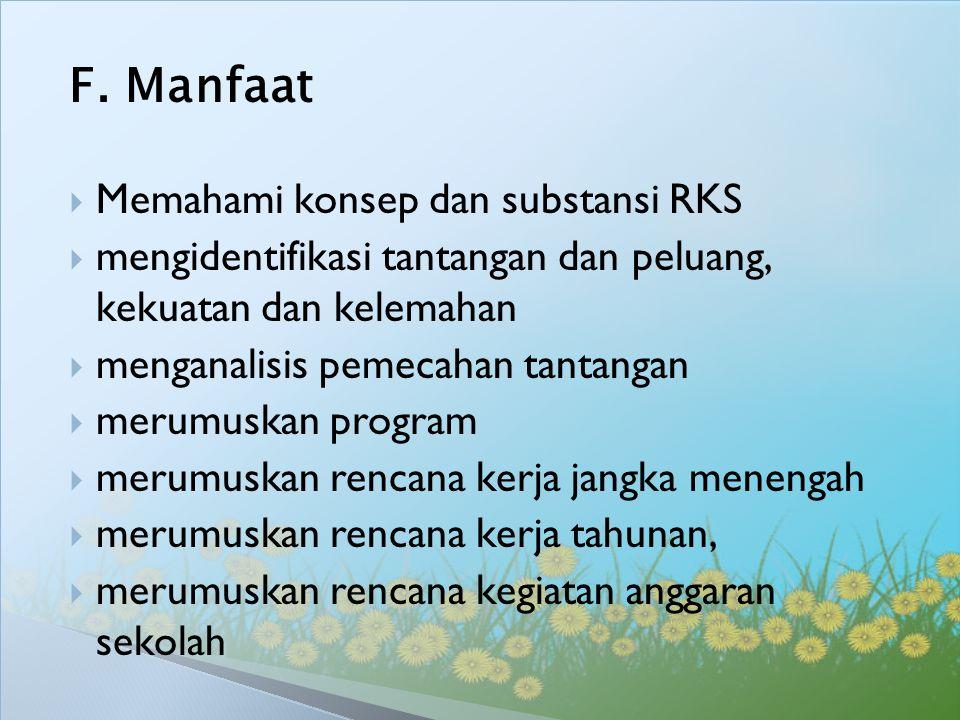 F. Manfaat  Memahami konsep dan substansi RKS  mengidentifikasi tantangan dan peluang, kekuatan dan kelemahan  menganalisis pemecahan tantangan  m
