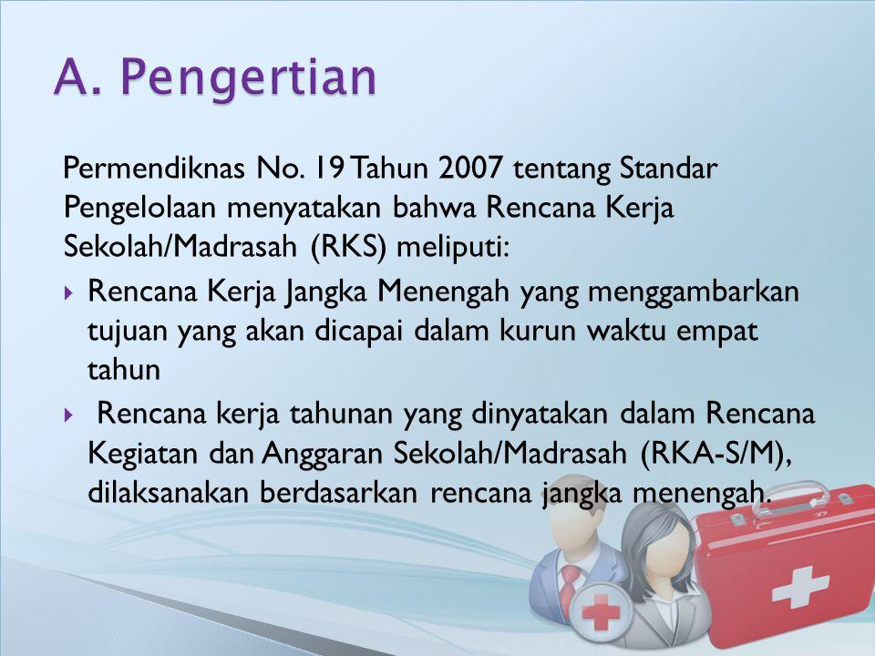 Permendiknas No. 19 Tahun 2007 tentang Standar Pengelolaan menyatakan bahwa Rencana Kerja Sekolah/Madrasah (RKS) meliputi:  Rencana Kerja Jangka Mene