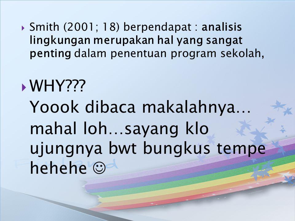  Smith (2001; 18) berpendapat : analisis lingkungan merupakan hal yang sangat penting dalam penentuan program sekolah,  WHY??? Yoook dibaca makalahn