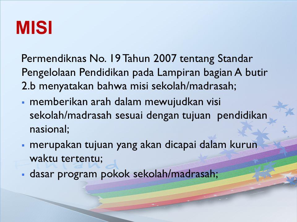 Permendiknas No. 19 Tahun 2007 tentang Standar Pengelolaan Pendidikan pada Lampiran bagian A butir 2.b menyatakan bahwa misi sekolah/madrasah;  membe