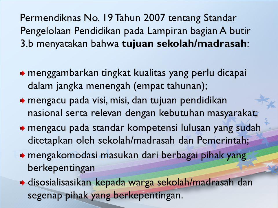 Permendiknas No. 19 Tahun 2007 tentang Standar Pengelolaan Pendidikan pada Lampiran bagian A butir 3.b menyatakan bahwa tujuan sekolah/madrasah: mengg