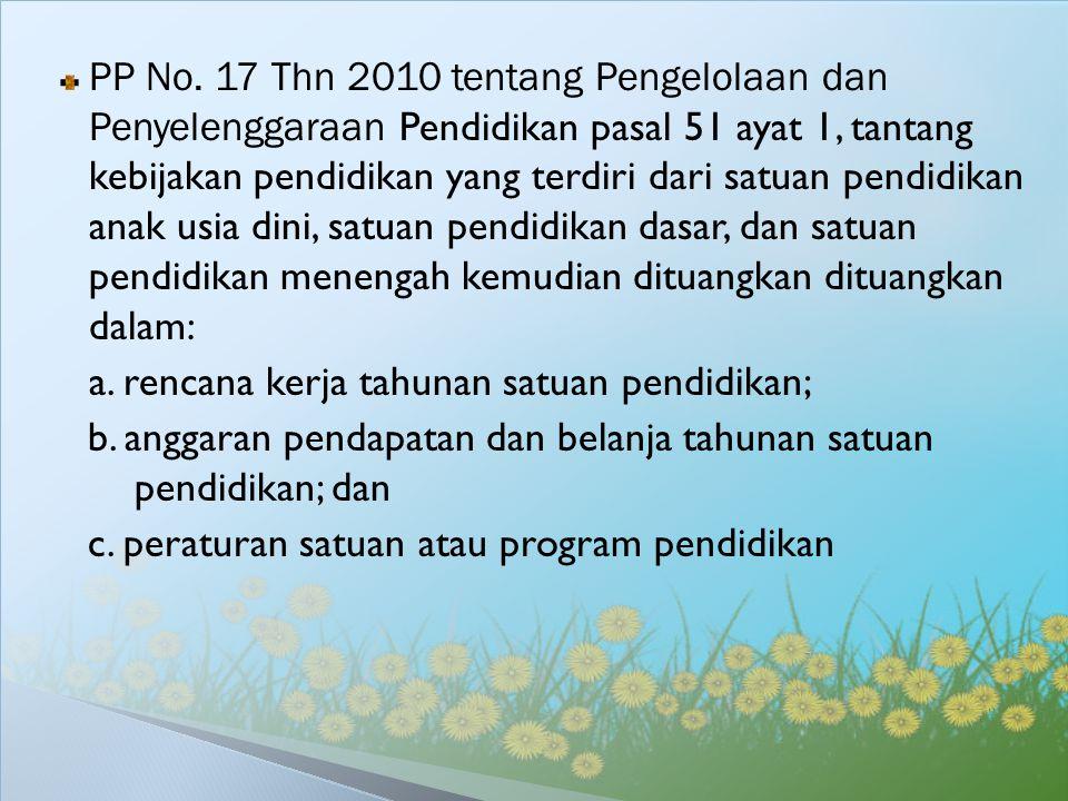 PP No. 17 Thn 2010 tentang Pengelolaan dan Penyelenggaraan Pendidikan pasal 51 ayat 1, tantang kebijakan pendidikan yang terdiri dari satuan pendidika