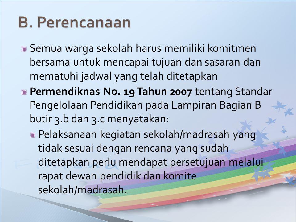 Semua warga sekolah harus memiliki komitmen bersama untuk mencapai tujuan dan sasaran dan mematuhi jadwal yang telah ditetapkan Permendiknas No. 19 Ta