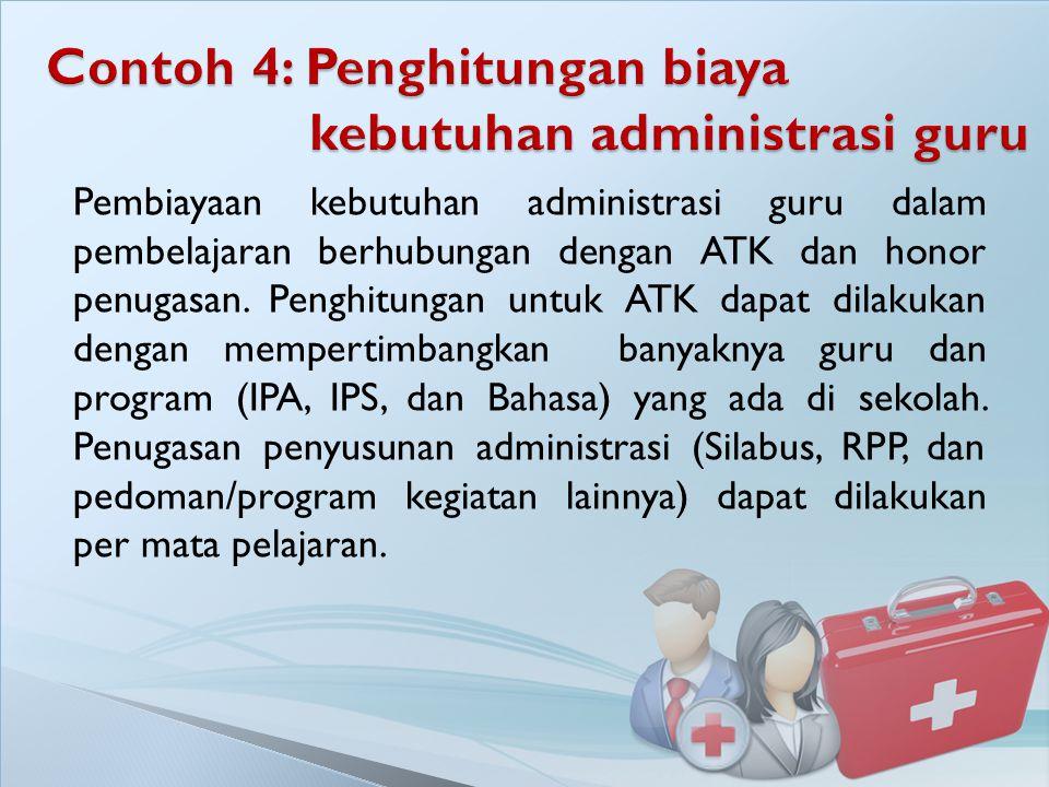 Pembiayaan kebutuhan administrasi guru dalam pembelajaran berhubungan dengan ATK dan honor penugasan. Penghitungan untuk ATK dapat dilakukan dengan me