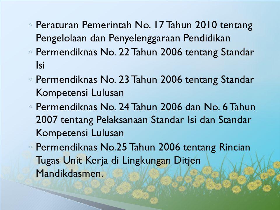 ◦ Peraturan Pemerintah No. 17 Tahun 2010 tentang Pengelolaan dan Penyelenggaraan Pendidikan ◦ Permendiknas No. 22 Tahun 2006 tentang Standar Isi ◦ Per