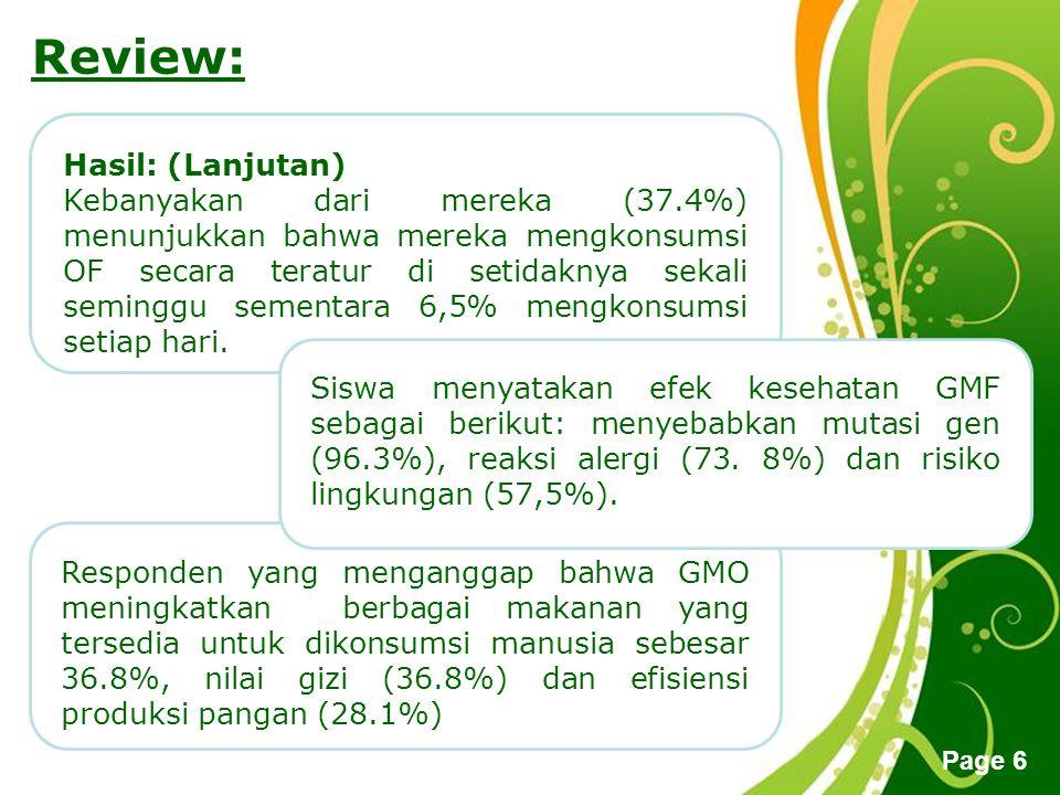 Free Powerpoint Templates Page 6 Review: Hasil: (Lanjutan) Kebanyakan dari mereka (37.4%) menunjukkan bahwa mereka mengkonsumsi OF secara teratur di s