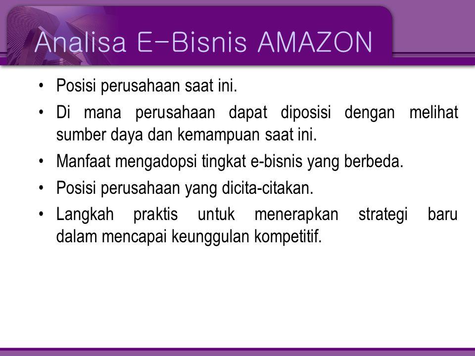 Analisa E-Bisnis AMAZON •Posisi perusahaan saat ini. •Di mana perusahaan dapat diposisi dengan melihat sumber daya dan kemampuan saat ini. •Manfaat me