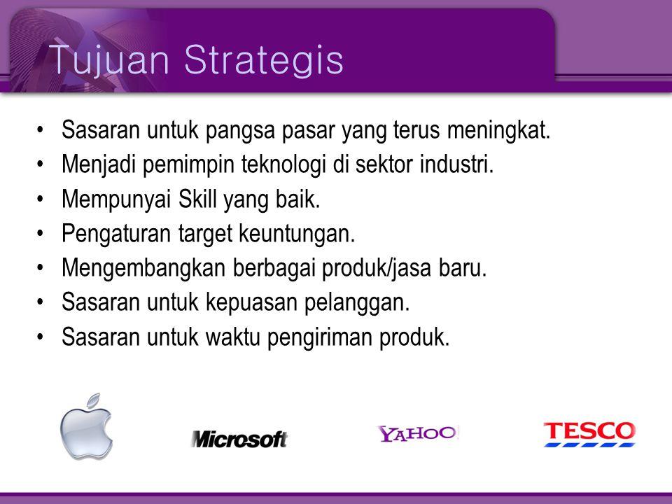 Tujuan Strategis •Sasaran untuk pangsa pasar yang terus meningkat. •Menjadi pemimpin teknologi di sektor industri. •Mempunyai Skill yang baik. •Pengat