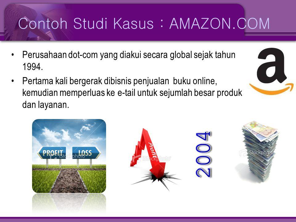 Contoh Studi Kasus : AMAZON.COM •Perusahaan dot-com yang diakui secara global sejak tahun 1994. •Pertama kali bergerak dibisnis penjualan buku online,