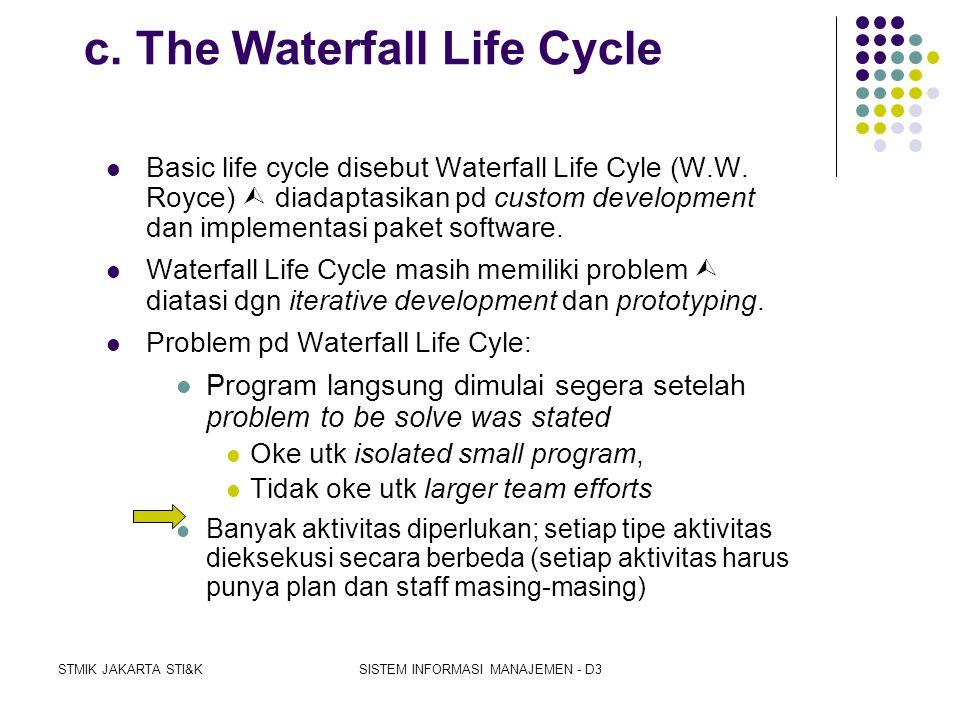 STMIK JAKARTA STI&KSISTEM INFORMASI MANAJEMEN - D3 b. The Phases of the SDLC  Berbagai variasi SDLC yg digunakan saat ini membagi life of a system me