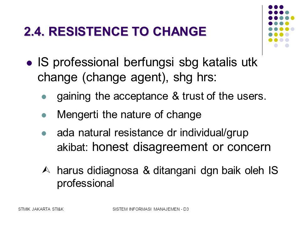 STMIK JAKARTA STI&KSISTEM INFORMASI MANAJEMEN - D3 2.3. THE NATURE OF CHANGE  Model of Social Change (Kurt Lewin) terdiri atas 3 stages:  UNFREEZING