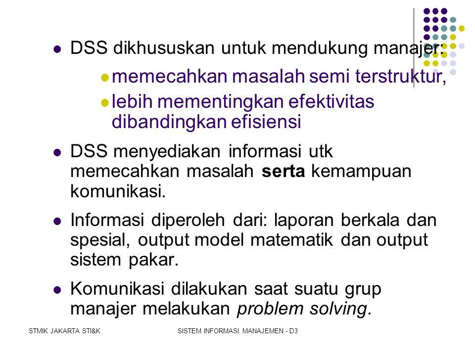 STMIK JAKARTA STI&KSISTEM INFORMASI MANAJEMEN - D3  DSS untuk pembuatan specific decisions dalam memecahkan specific problems.  Konsep DSS:  HERBER