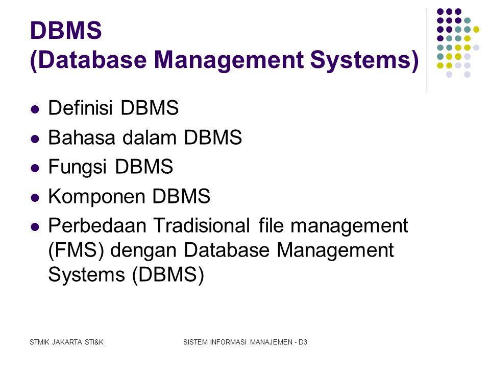 STMIK JAKARTA STI&KSISTEM INFORMASI MANAJEMEN - D3 HUBUNGAN DATA DAN DATABASE  Jenis data pada sistem database  keuntungan pemakaian sistem database