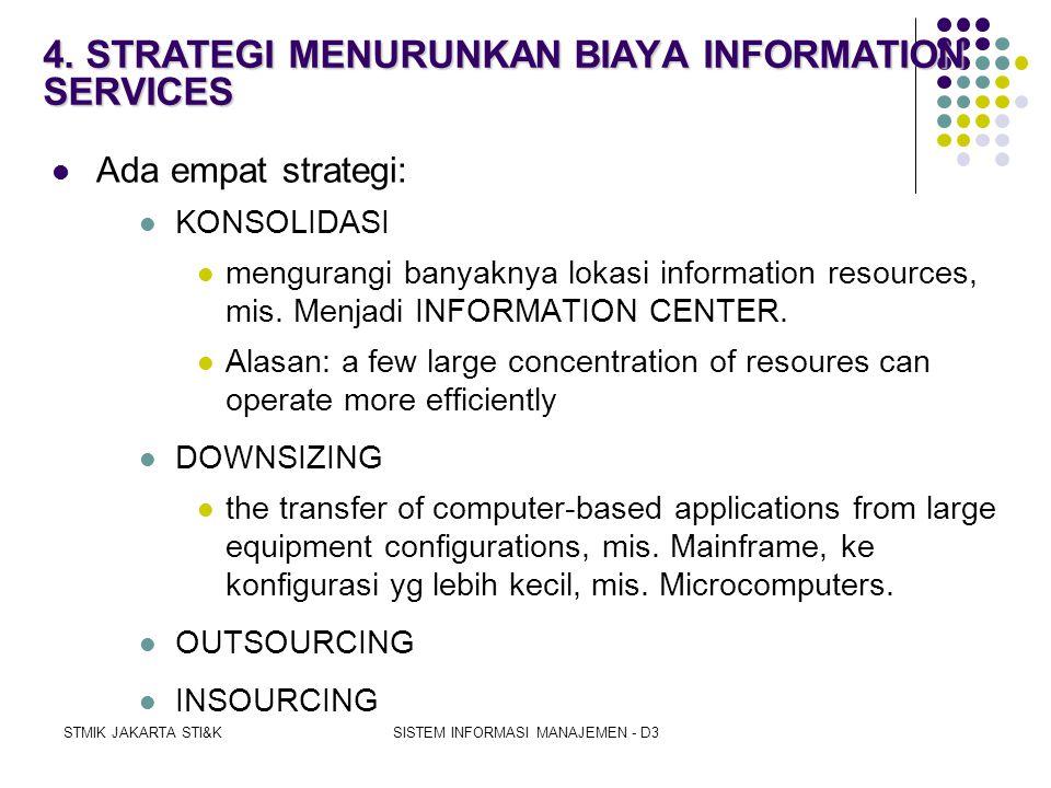 STMIK JAKARTA STI&KSISTEM INFORMASI MANAJEMEN - D3 3. PENINGKATAN PENTINGNYA JUSTIFIKASI SUMBERDAYA INFORMASI  Eksekutif harus melakukan justifikasi