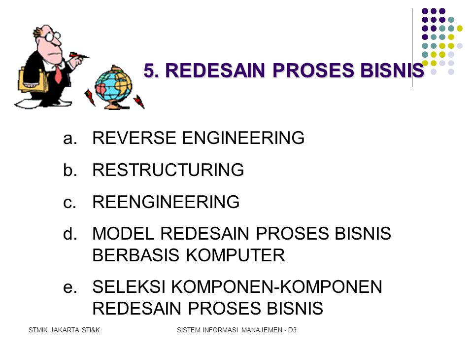STMIK JAKARTA STI&KSISTEM INFORMASI MANAJEMEN - D3 INSOURCING  is the action of a firm to regain the processing that previously was farmed out to an outsourcer  Alasan Insourcing:  outsourcers have no interest in controlling costs since they make money when costs go up  turning over of the processing to people who don't really know your business  a loss of control
