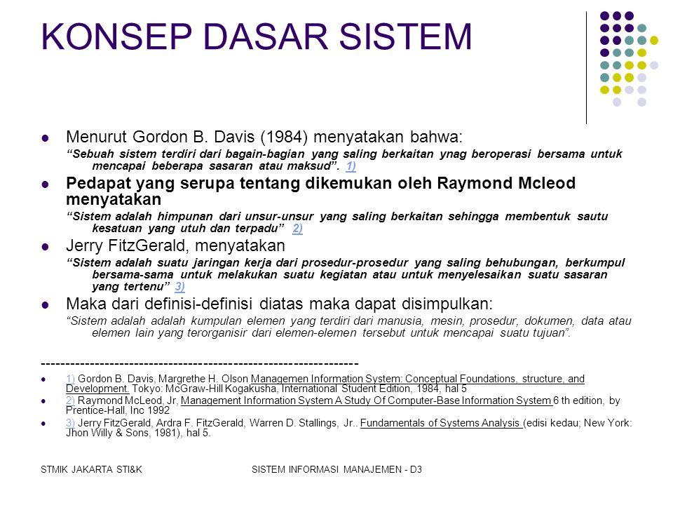 STMIK JAKARTA STI&KSISTEM INFORMASI MANAJEMEN - D3 Klasifikasi Sistem  Suatu Sistem dapat diklasifikasikan dari beberapa sudat padang, yaitu;  Siste