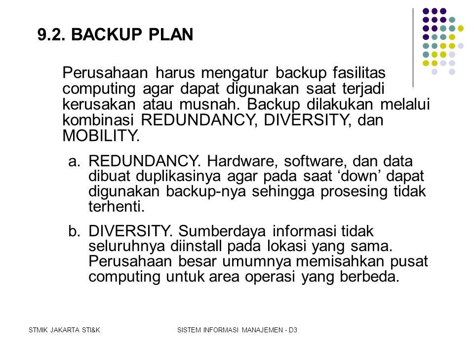 STMIK JAKARTA STI&KSISTEM INFORMASI MANAJEMEN - D3 9.1. EMERGENCY PLAN  Emergency plan menetapkan pengukuran-pengukuran untuk keselamatan peagwai saa
