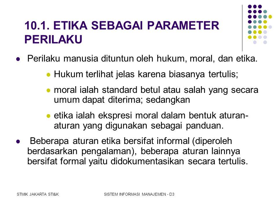 STMIK JAKARTA STI&KSISTEM INFORMASI MANAJEMEN - D3 10.PENTINGNYA ETIKA 1.ETIKA SEBAGAI PARAMETER PERILAKU 2.EMPAT ISYU ETIKA 3.PERJANJIAN SOSIAL PENGG