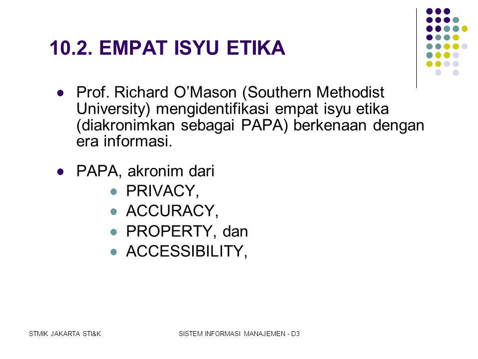 STMIK JAKARTA STI&KSISTEM INFORMASI MANAJEMEN - D3 Organisasi-organisasi professional computing telah membuat lima aturan etika yaitu: