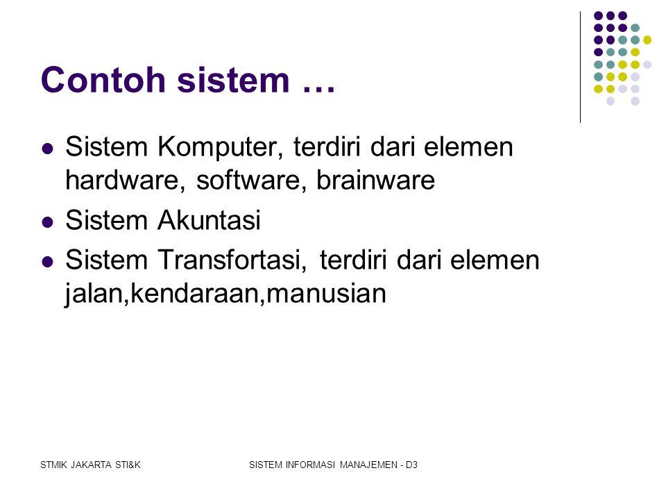 STMIK JAKARTA STI&KSISTEM INFORMASI MANAJEMEN - D3 Karakteristik / Sifat Sistem  Suatu sistem mempunyai karakteristik atau sifat- sifat tertentu yait