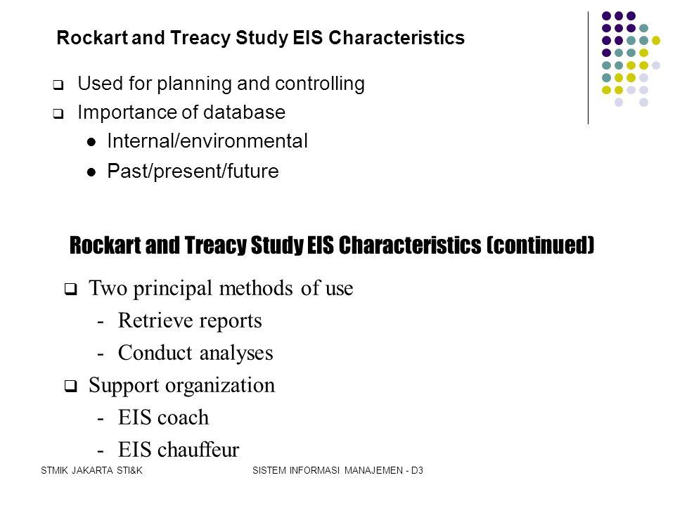 STMIK JAKARTA STI&KSISTEM INFORMASI MANAJEMEN - D3 Unique Information Needs Rockart and Treacy Study  John Rockart and Michael Treacy, both of MIT 