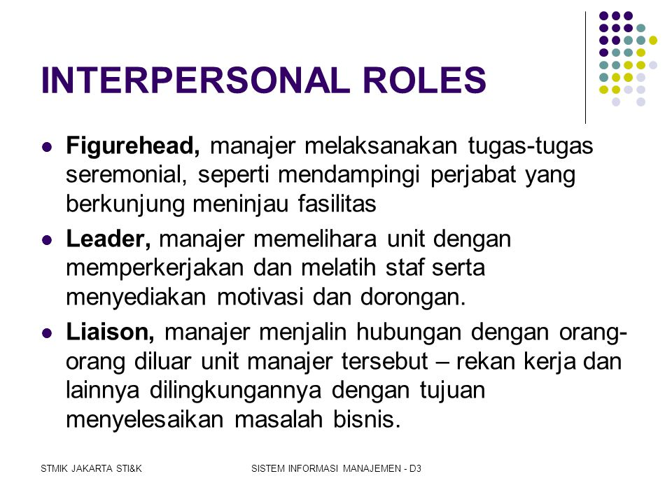STMIK JAKARTA STI&KSISTEM INFORMASI MANAJEMEN - D3 PERAN MANAJERIAL (MINTZBERG)  INTERPERSONAL ROLES  Figurehead  Leader  Liaison  INFORMATIONAL