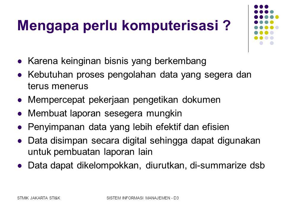 STMIK JAKARTA STI&KSISTEM INFORMASI MANAJEMEN - D3 Komputerisasi  Mengapa perlu komputerisasi ?  Apa keuntungan penggunaan komputer?  Apa beda peng