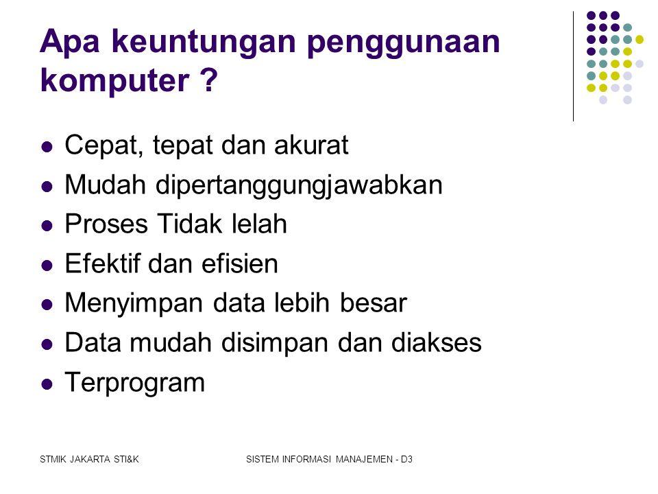 STMIK JAKARTA STI&KSISTEM INFORMASI MANAJEMEN - D3 Mengapa perlu komputerisasi ?  Karena keinginan bisnis yang berkembang  Kebutuhan proses pengolah