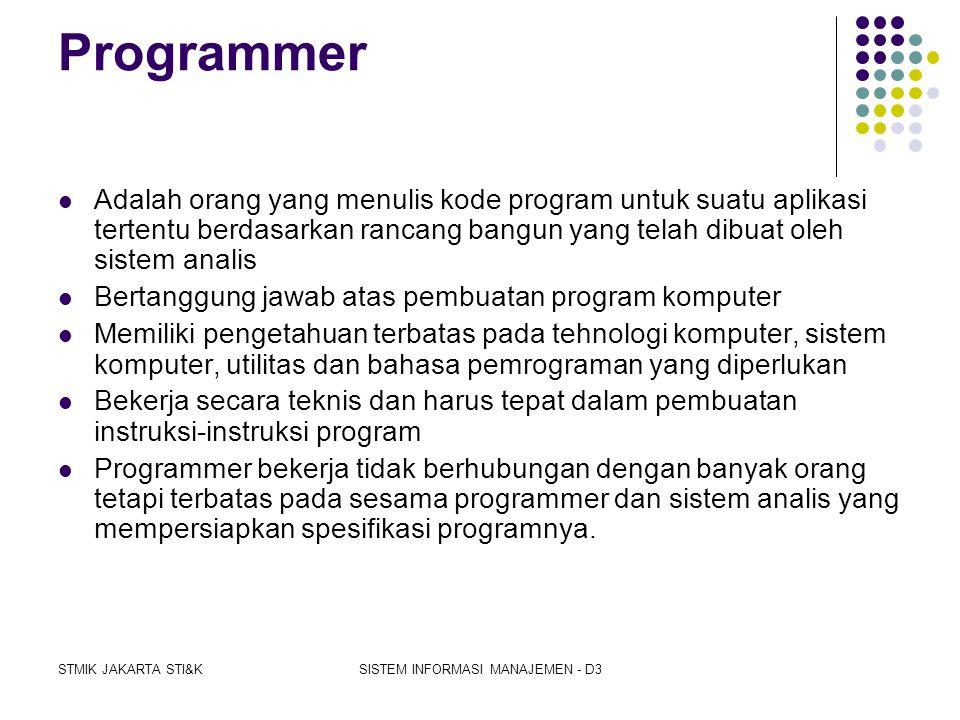 STMIK JAKARTA STI&KSISTEM INFORMASI MANAJEMEN - D3 Pengolahan data manual  Pekerjaan secara manual mudah terjadi kesalahan (human error), tidak efekt