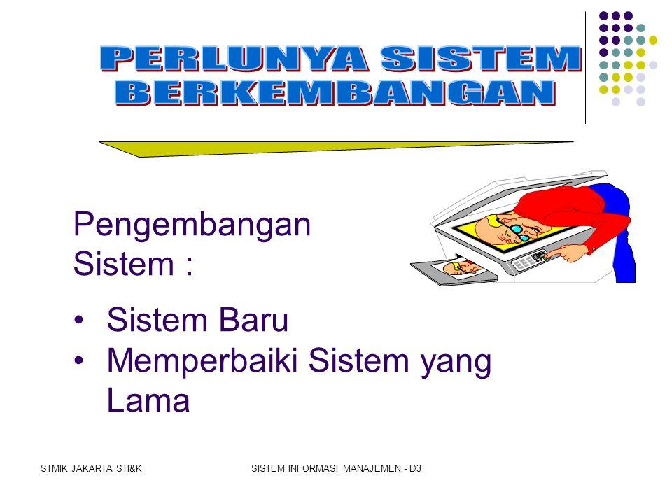 STMIK JAKARTA STI&KSISTEM INFORMASI MANAJEMEN - D3 Indikator Perubahan sistem  Perubahan sistem lama ke sistem yang baru. Indikator-indikator tsb dia